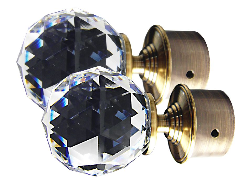 OVO®  TEZ®  Crystal Glass Curtain Pole Head Finials - Antique Brass - Sold as pair